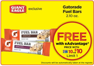 Giant Eagle Free Gatorade Fuel Bars - Exp. March 22, 2017