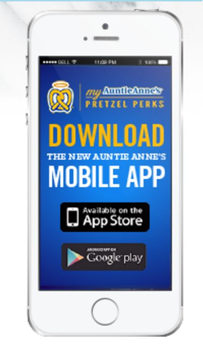 Auntie Anne's Free Pretzel When You Download Their Mobile App by April 26, 2017 for National Pretzel Day - US
