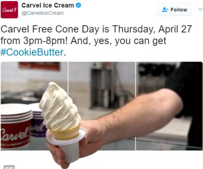 Carvel Ice Cream Free Cone Day on April 27, 2017 from 3-8pm