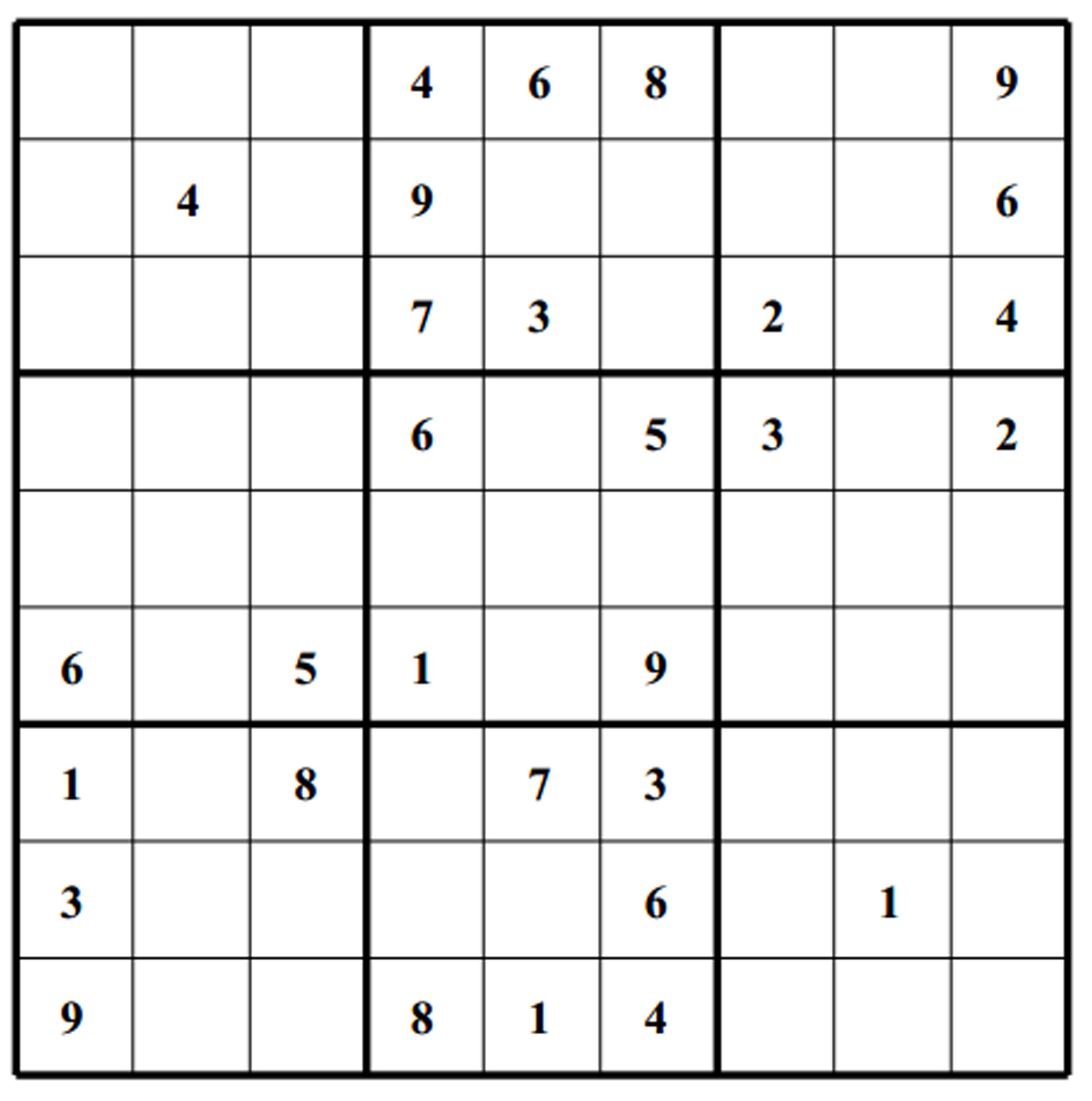 Sudoku Medium Level Printable