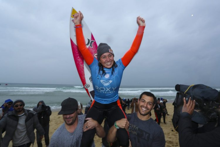 Carissa Moore celebrates her victory during the  Roxy Pro France.