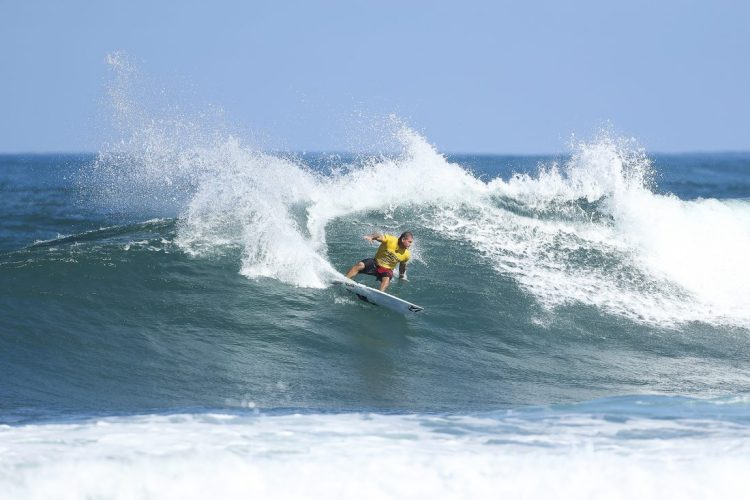 Kai Mana Henry placed fourth in Heat 5 of Round One at the Hawaiian Pro at Haleiwa today.