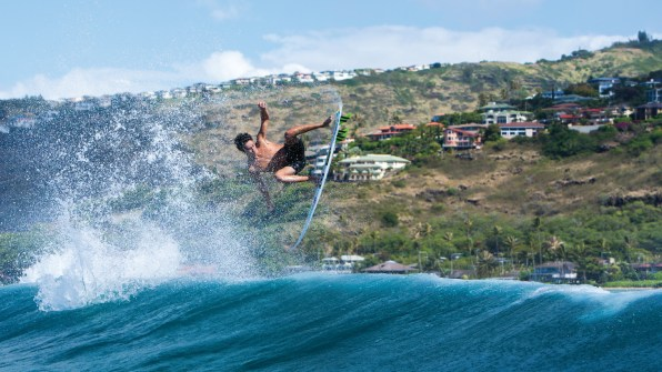 Although most summer Town sessions involve paddling out into crowded lineups, there are a few uncrowded gems to be found if you're willing to get creative. Noa Mizuno finds his own slice of paradise somewhere on the South Shore of Oahu. Photo: Tony Heff