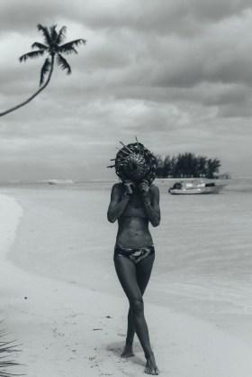 Moana Jane on a corner beach in Moorea.