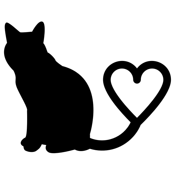 Download Cat 2 Silhouette Heart Tail | Free SVG