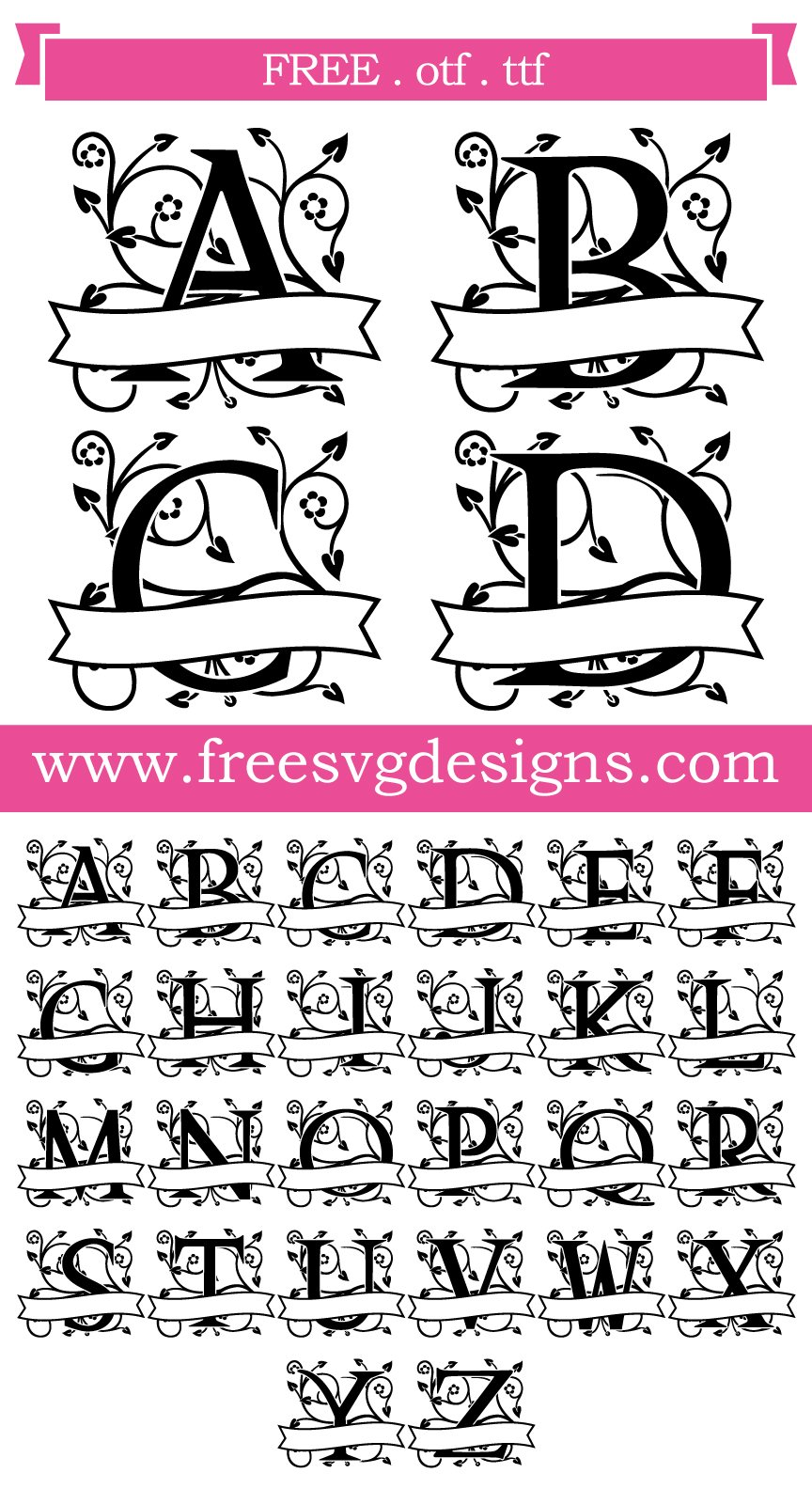 Download Free SVG Files | SVG, PNG, DXF | Ornate Floral Banner ...