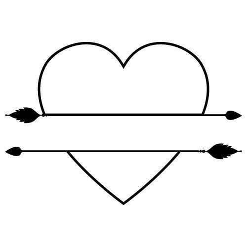 Split Love Heart Arrows SVG