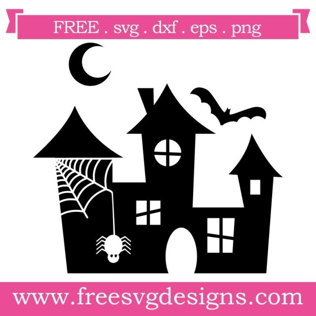 Free Halloween Spooky House cut file at www.freesvgdesigns.com. FREE downloads includes SVG, EPS, PNG and DXF files for personal cutting projects. Free vector / printable / free svg images for cricut