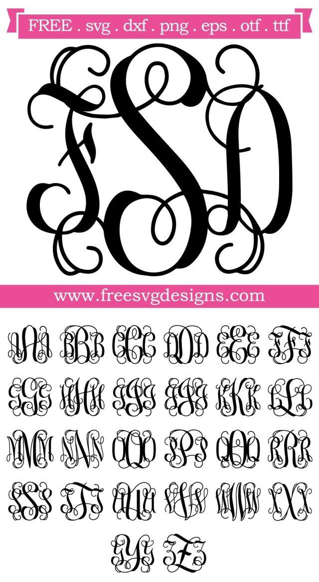 Script Vine Monogram Font SVG