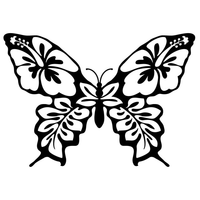 Floral Butterfly Silhouette SVG