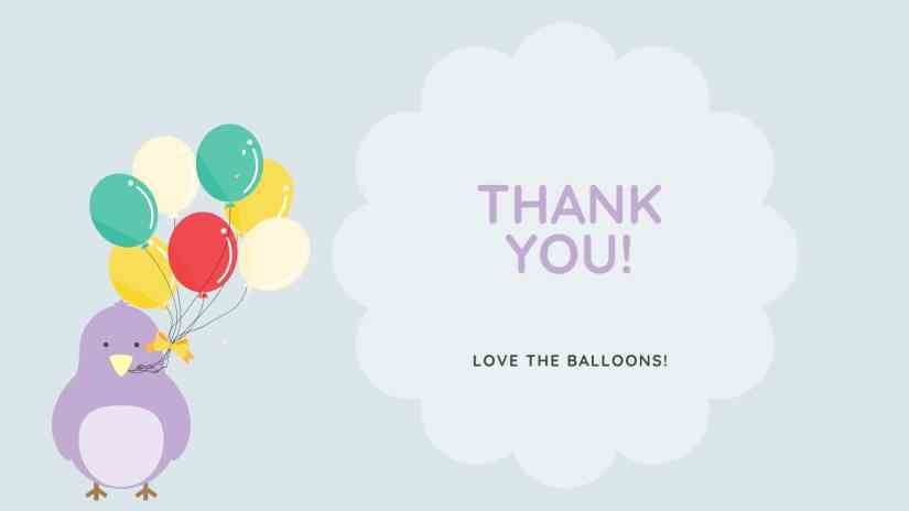Card with a purple bird holding a bunch of balloons and saying thank you! Love the balloons!