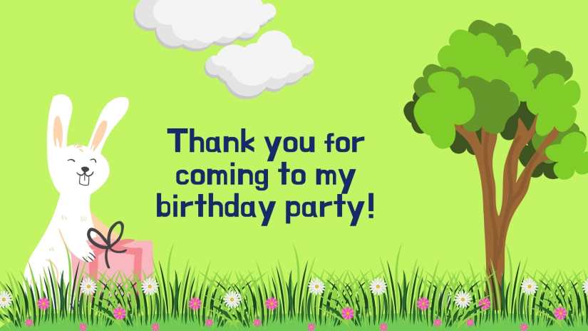 """Card showing a bunny holding a gift on a grassy field with flowers, a tree and clouds. The card says """"Thank you for coming to my birthday party!"""""""