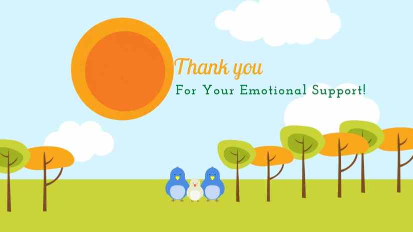 "Card showing the sun, clouds, trees and a family of blue birds. The card says ""Thank you for your emotional support!"""