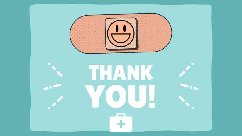 """Card showing a band-aid with a smily face in the center and saying """"THANK YOU!"""""""