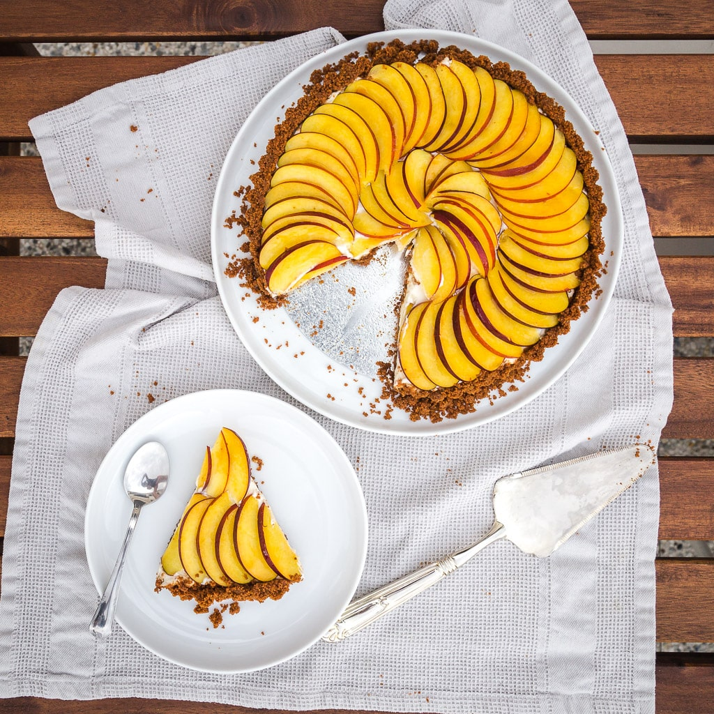 Une recette de tarte à la nectarine façon cheesecake !