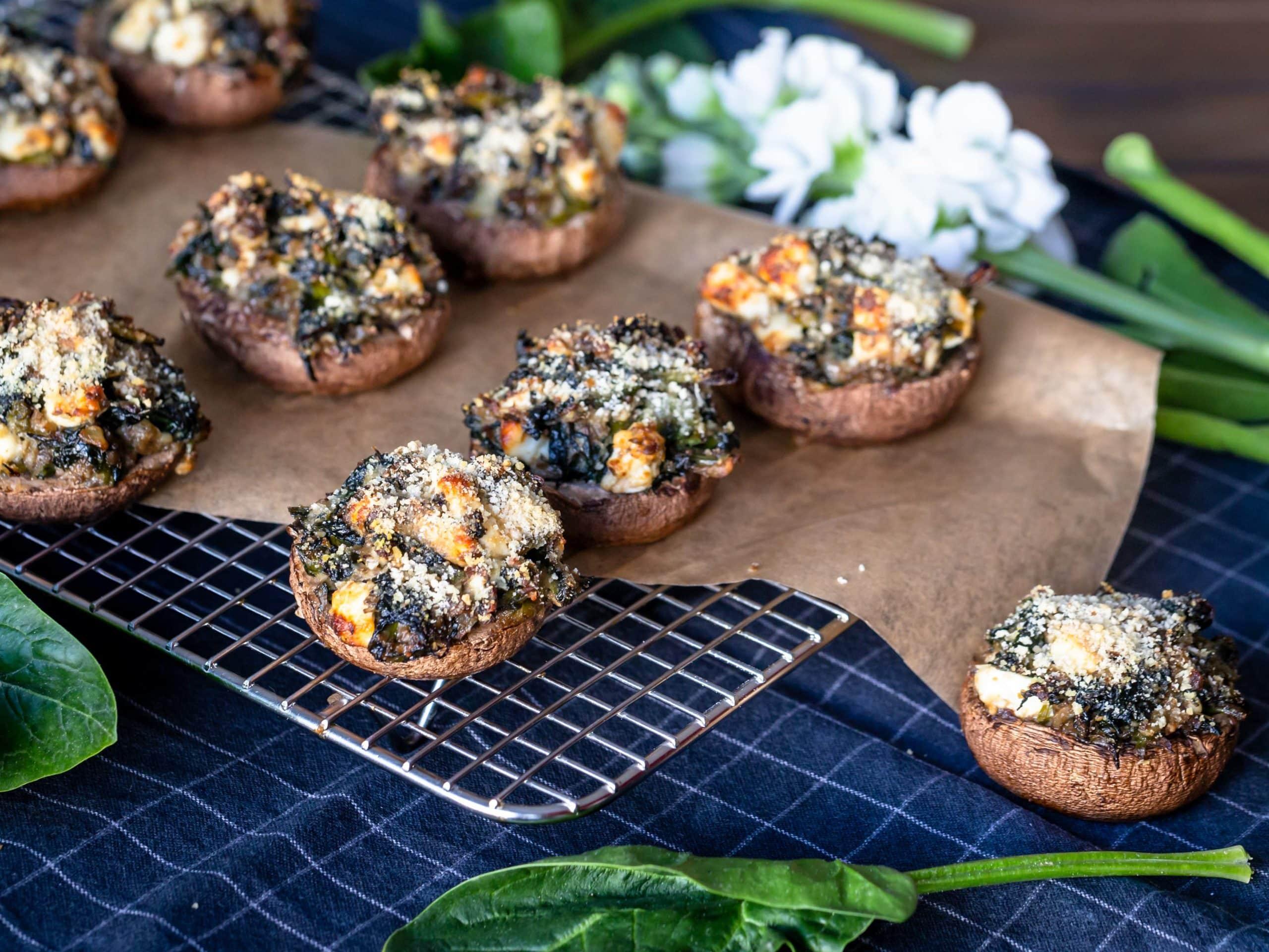 Champignons farcis aux Épinards et à la Fêta (Sans Gluten)