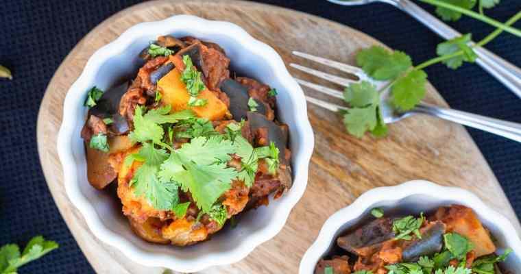 Aloo Baingan – Ragoût d'Aubergines et Pommes de terre à l'indienne (Végan et Sans Gluten)