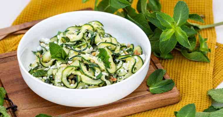 Salade de Tagliatelles de Courgette crue à la Menthe