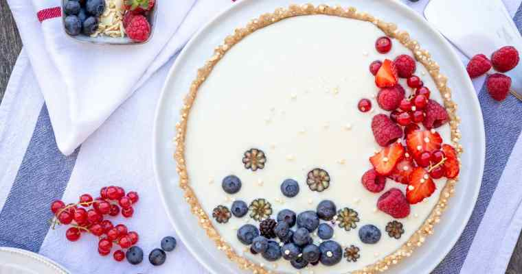 Tarte Vegan Chocolat Blanc Fruits Rouges (Sans Cuisson)