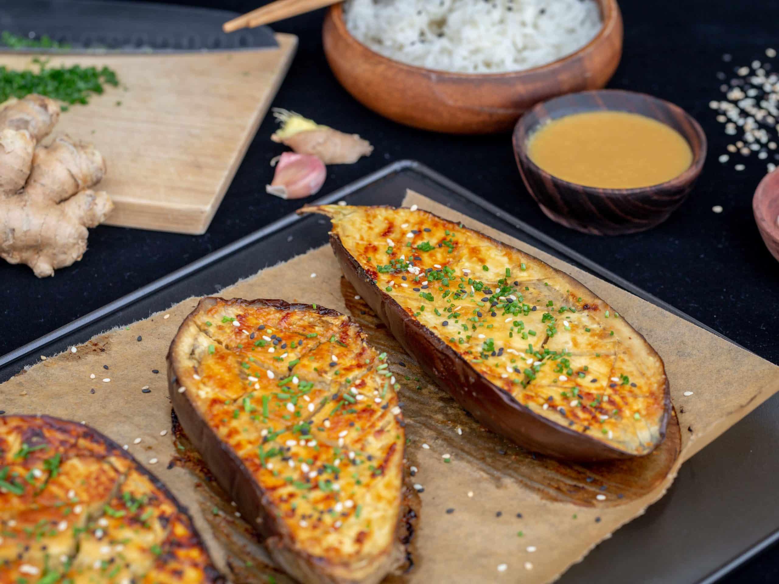 Aubergines rôties au Miso et Gingembre  (Vegan et Sans Gluten)
