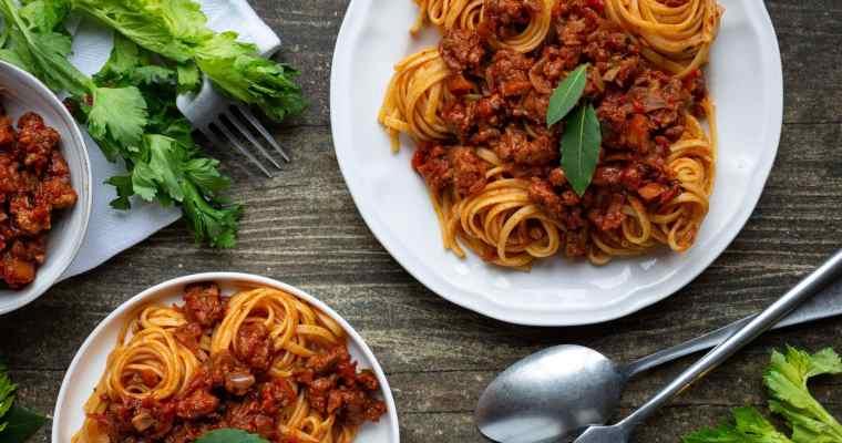 Sauce bolognaise aux Protéines de Soja Texturées (Vegan, Sans Gluten)