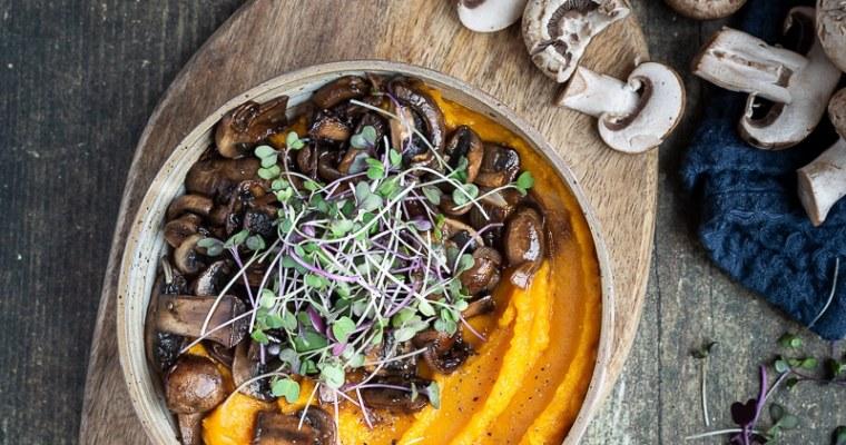 Purée de Courge et ses Champignons à la Sauce Soja (Vegan, Sans Gluten)