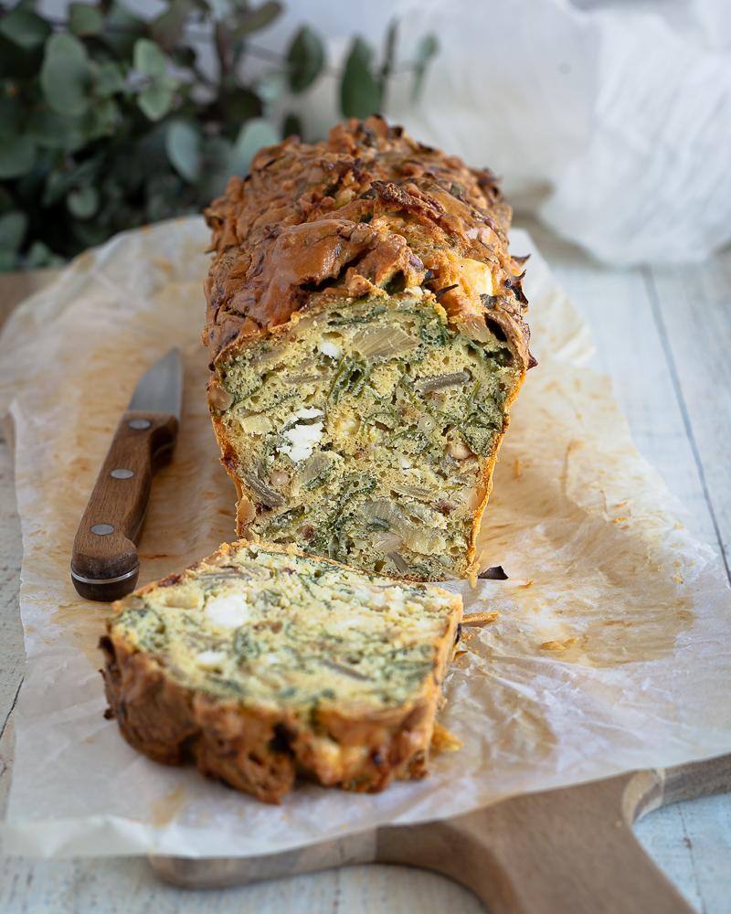 Cake aux Blettes Fêta et Pignons, la Farine de Pois Chiche (sans gluten)