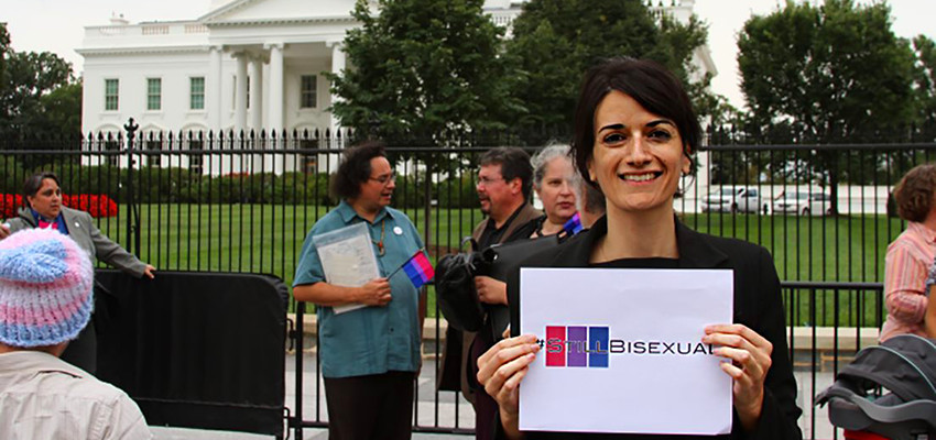 Nicole Kristal, founder of the #StillBisexual campaign, in front of the White House