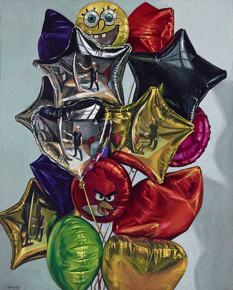 four-self-portraits-in-a-bunch-of-balloonns-2014.-162x130cm