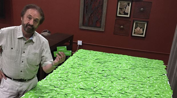 Ray Comfort and Subway gift cards that had been intended for Reason Rally attendees (Image courtesy Ray Comfort)