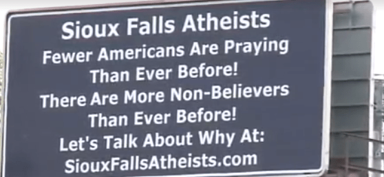 (Photo: Screenshot/KSFY-TV) Atheist billboards in Sioux City, South Dakota.