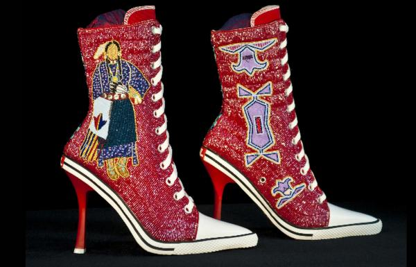 Beaded high heel sneakers by Teri Greeves.