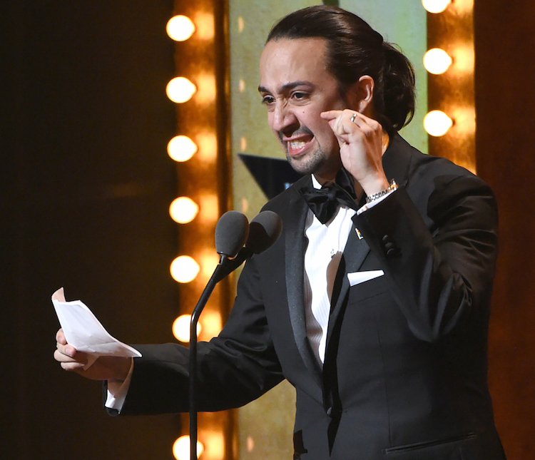"Lin-Manuel Miranda accepts the award for best original score for  ""Hamilton"" at the Tony Awards at the Beacon Theatre on Sunday, June 12, 2016, in New York. (Photo by Evan Agostini/Invision/AP)"