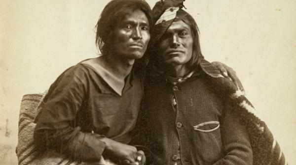Photo by Bosque Redondo, 1866. A Navajo two-spirit couple is seen in this historic photo from the collection of the Museum of New Mexico.