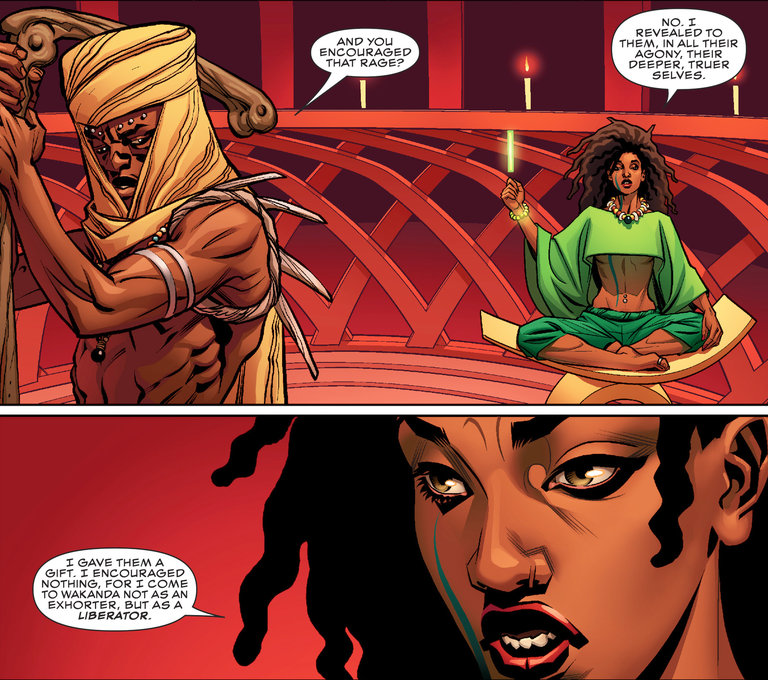 Zenzi, in green, a revolutionary in Wakanda, the home of the Black Panther. Credit Marvel Entertainment