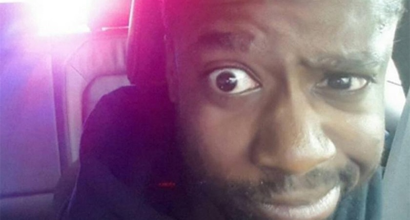 Louizandre Dauphin's selfie after he was pulled over by police (Photo: Instagram)