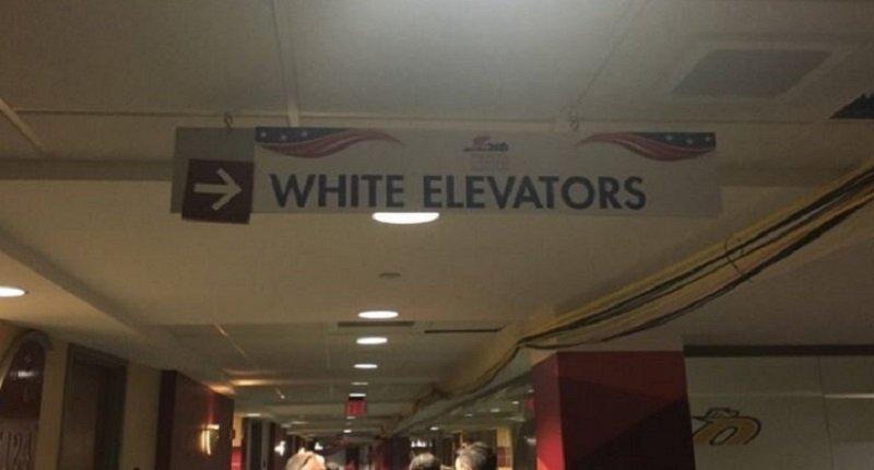 """White elevators"" sign (Byron Tau/Twitter)"