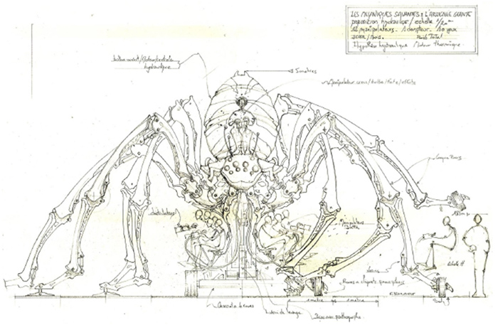 Original drawings for the giant spider, courtesy of La Machine.