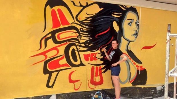 Gitxan artist and CBC journalist Angela Sterritt spent five days in China creating this mural. (Angela Sterritt).
