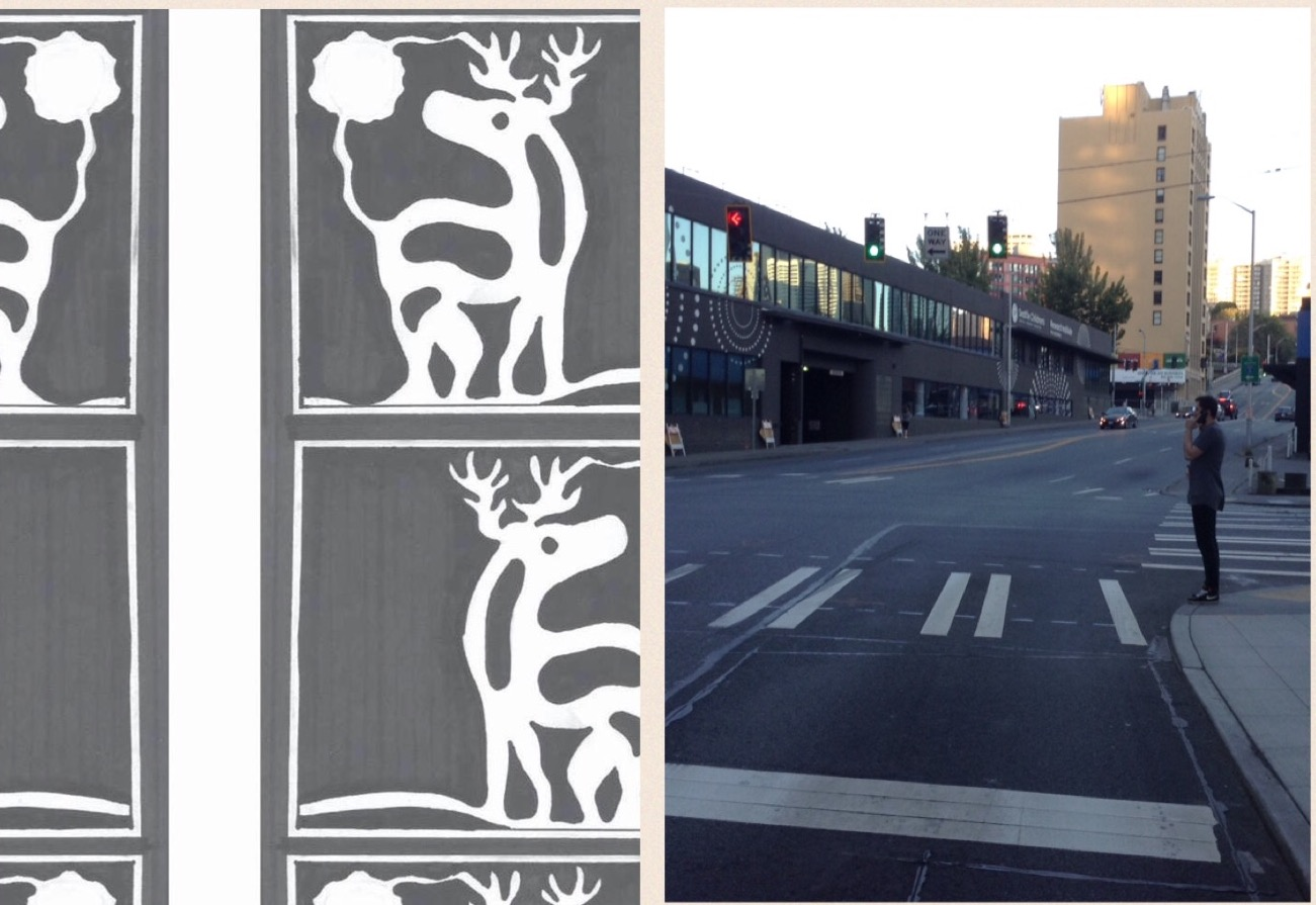 "The ""White Deer Crossing"" in honor of John T. Williams will feature repeating images similar to the ones on the left to form a crosswalk on the north side of Howell Street. This is the same crosswalk Williams used seconds before he was shot by Officer Ian Birk. (Photo on left courtesy White Deer Crossing Project/Photo on right by Frank Hopper)."