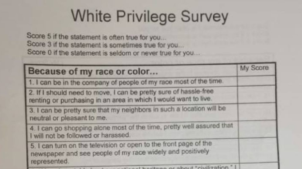 White Privilege survey (Photo courtesy Jason Schmidt).