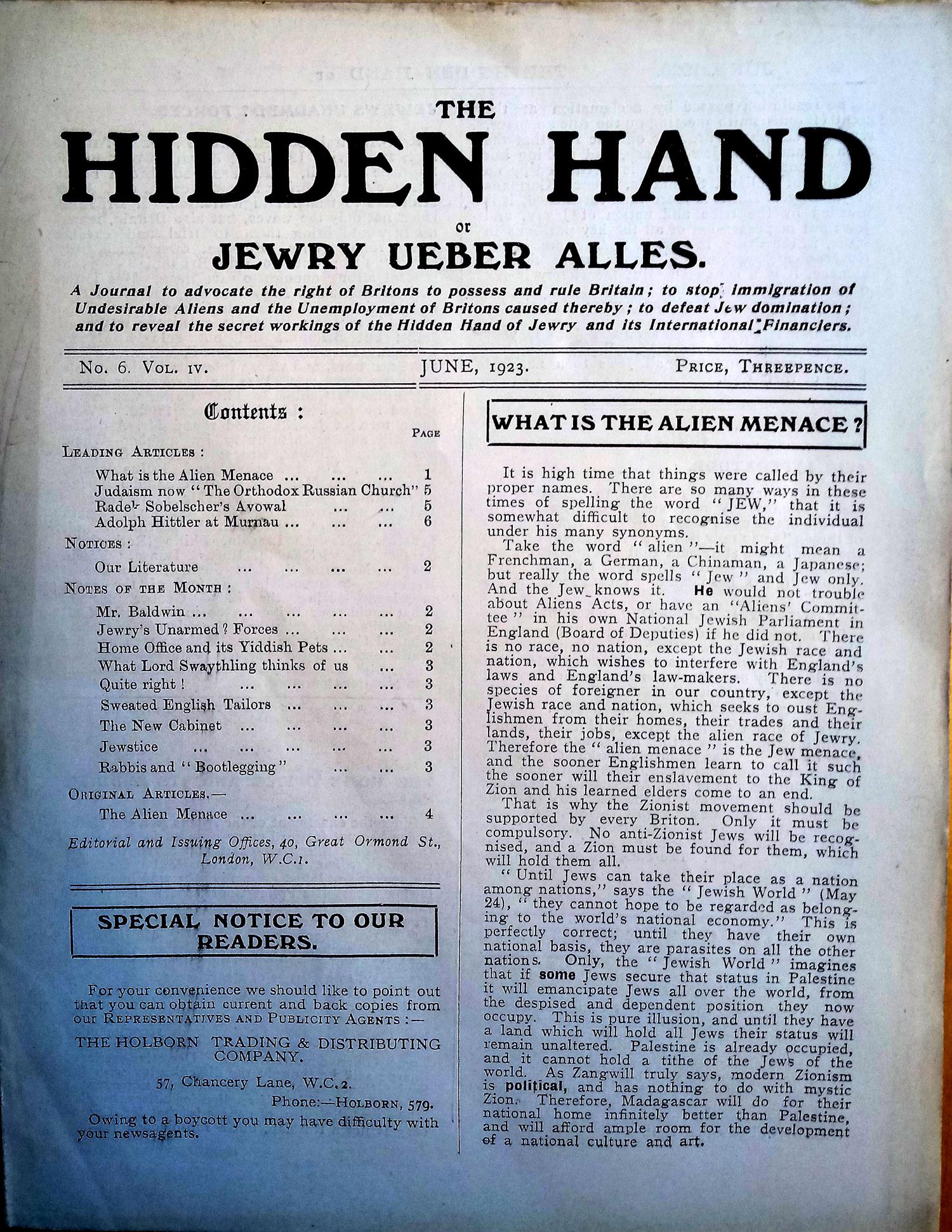 Antisemitic literature, 1923. Click for full size.