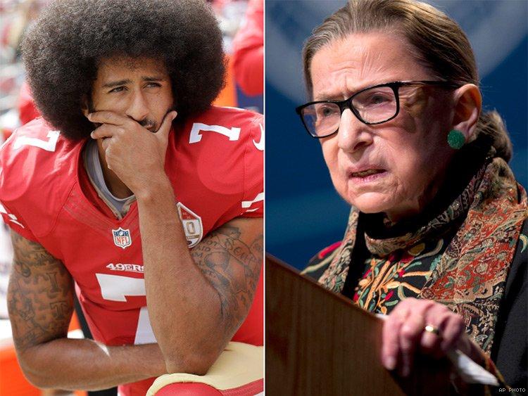 Colin Kaepernick and Ruth Bader Ginsburg. AP photo.