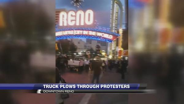 KOLO TV After a confrontation with some of the 40 demonstrators rallying in downtown Reno to protest against Columbus Day and the Dakota Access oil pipeline, the driver of a white pickup truck plowed into the crowd, injuring five and sending one to the hospital.