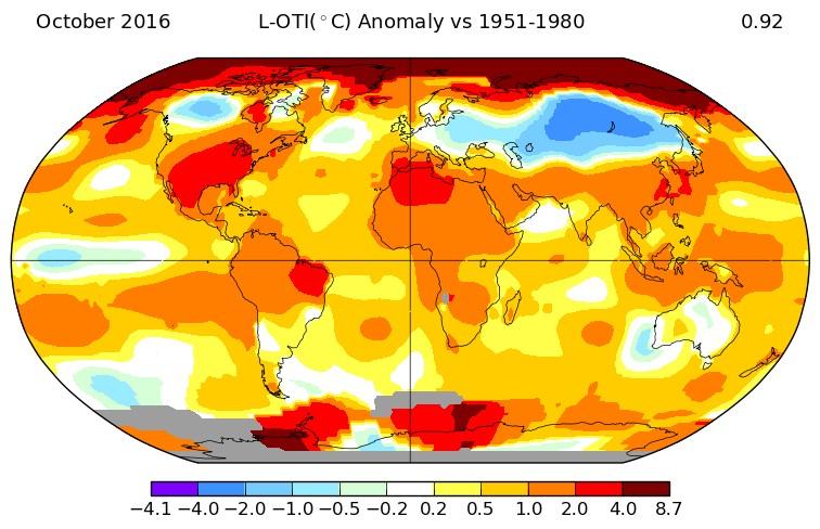 NASA Land and Ocean Temperature Index (LOTI) for October.