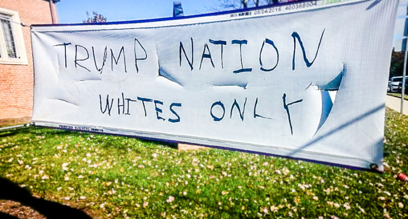 Pro-Trump graffiti found at Episcopal Church of Our Savior in Silver Spring, Maryland.