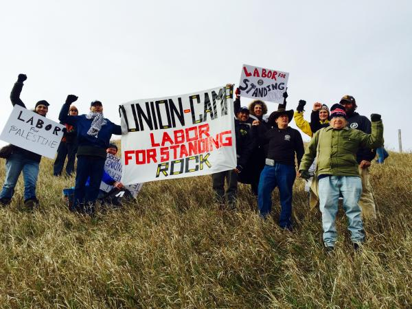 Courtesy Karen Pomer. A delegation from Labor For Standing Rock, comprised of rank-and-file workers and union members to mobilize growing labor support for the First Nation's fight against the Dakota Access Pipeline at the Standing Rock camp the weekend of October 29.