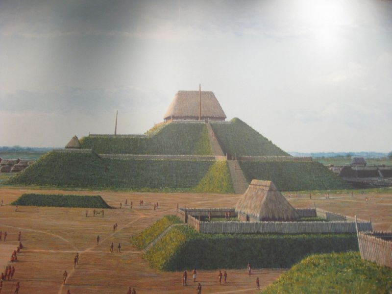 Artist's recreation of downtown Cahokia, with Monk's Mound at its center.