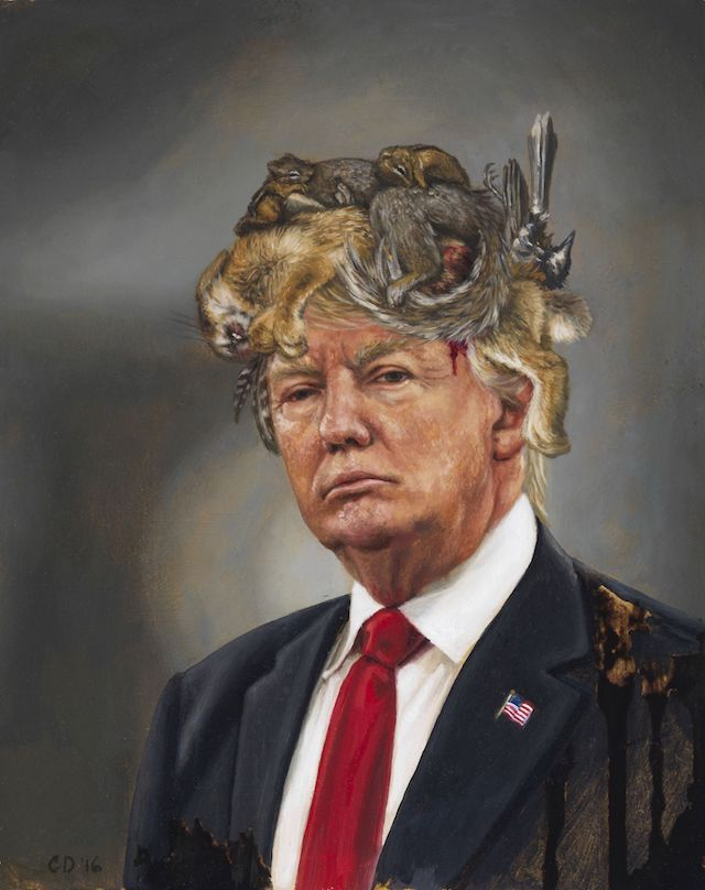 Cara Deangelis, 'Donald Trump with a Crown of Roadkill'.