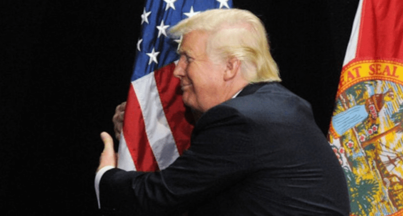 Trump humps flag. Twitter.